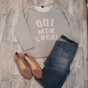 "J. Crew ""Oui Mon Cheri"" Sweatshirt Size Medium"